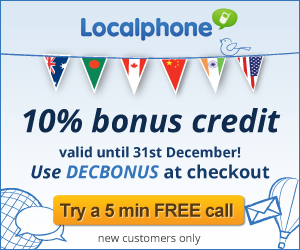 coupon, discount, Localphone, cheap international calls, free credit, free calls